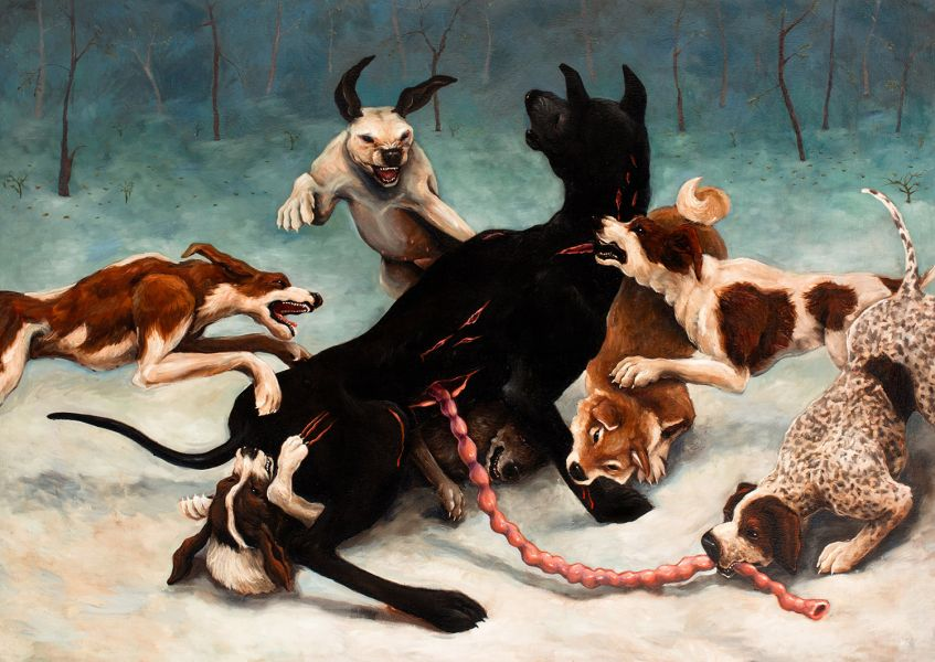 black dog (on the origin and decline of species, 152 x 213 cm, oil on canvas, 2